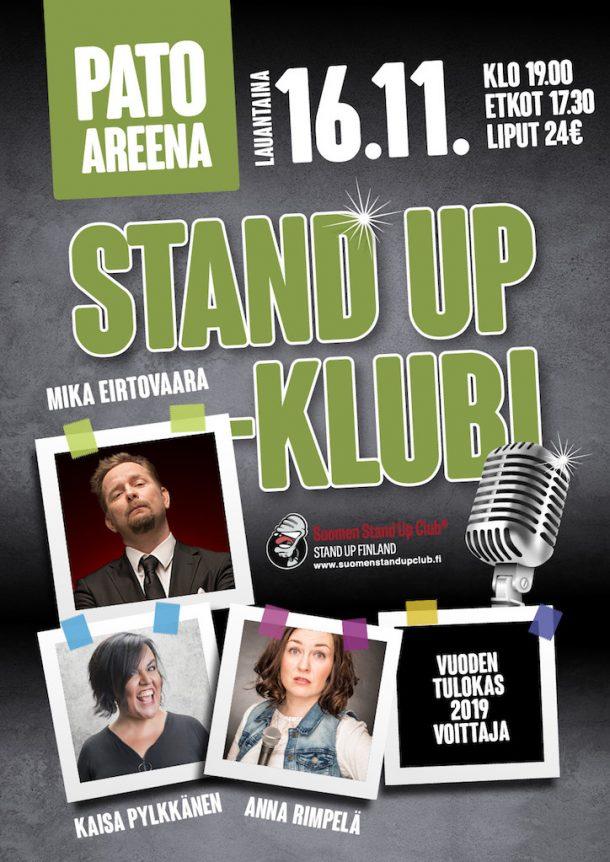 Pato Areena Stand up-klubi – la 16.11. klo 19:00